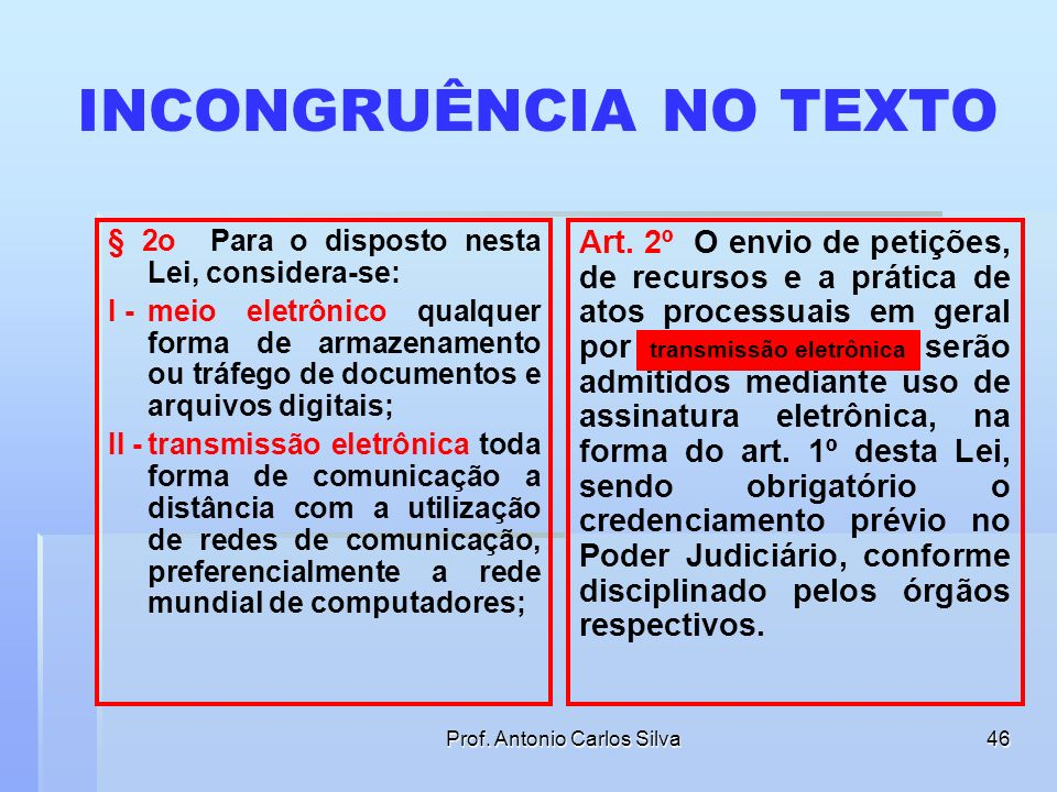 Prof. Antonio Carlos Silva45 ENVIO DE PETIÇÕES Art. 2º O envio de petições, de recursos e a prática de atos processuais em geral por meio eletrônico s