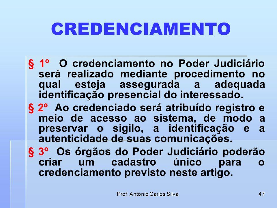 Prof. Antonio Carlos Silva46 INCONGRUÊNCIA NO TEXTO § 2o Para o disposto nesta Lei, considera-se: I - meio eletrônico qualquer forma de armazenamento