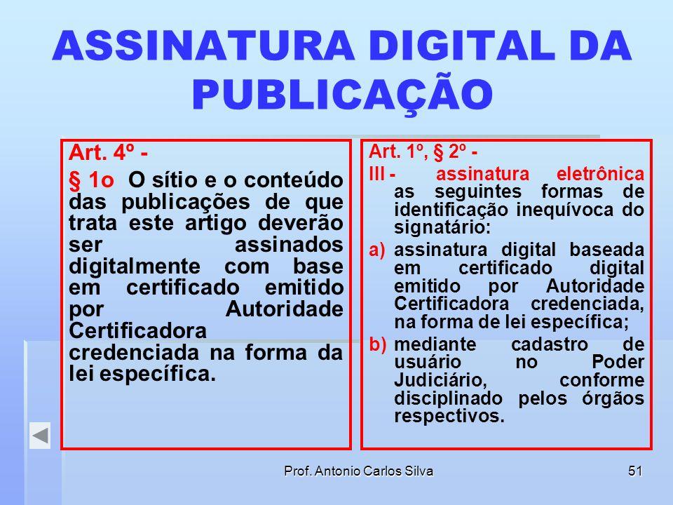 Prof. Antonio Carlos Silva50 ASSINATURA DIGITAL DA PUBLICAÇÃO § 1o O sítio e o conteúdo das publicações de que trata este artigo deverão ser assinados