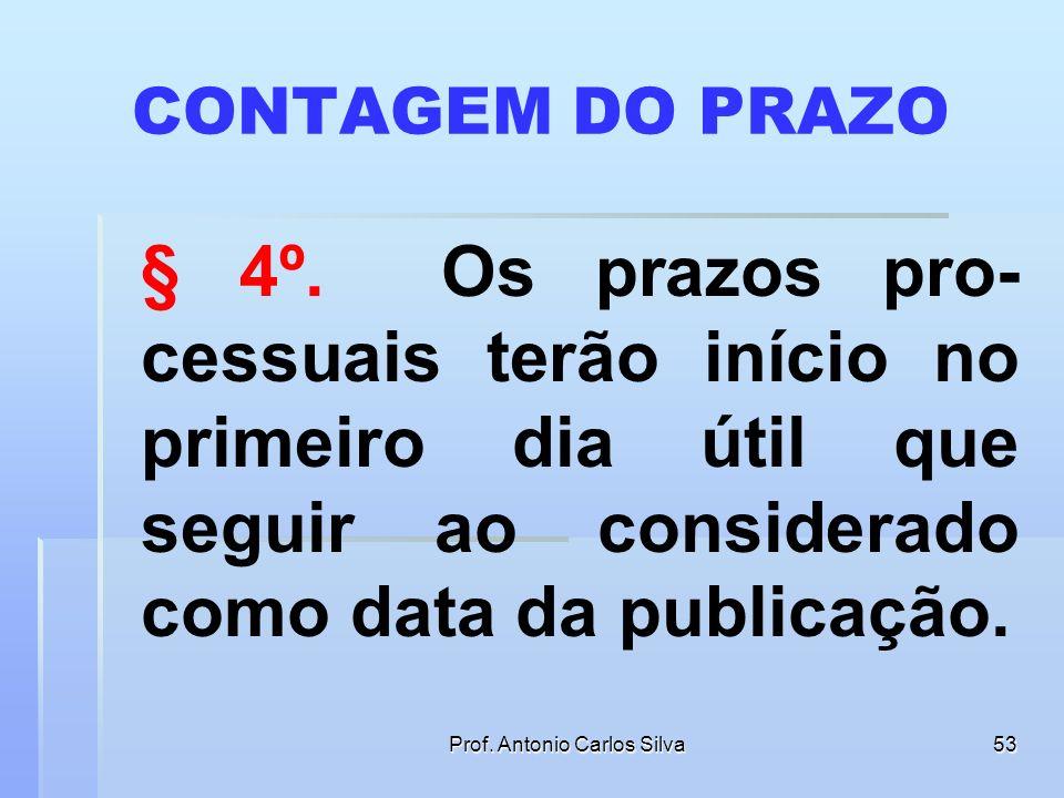 Prof. Antonio Carlos Silva52 DATA DA PUBLICAÇÃO § 3º. Considera-se como data da publicação o primeiro dia útil seguinte ao da disponibilização da info