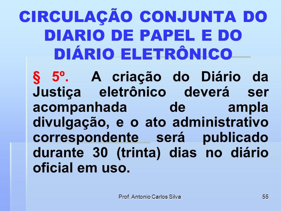 Prof. Antonio Carlos Silva54 CONTAGEM DO PRAZO § 4º. Os prazos processuais terão início no primeiro dia útil que seguir ao considerado como data da pu