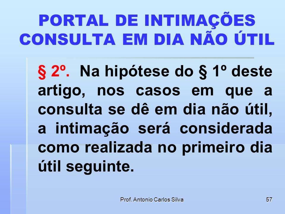 Prof. Antonio Carlos Silva56 PORTAL DE INTIMAÇÕES Art. 5º As intimações serão feitas por meio eletrônico em portal próprio aos que se cadastrarem na f