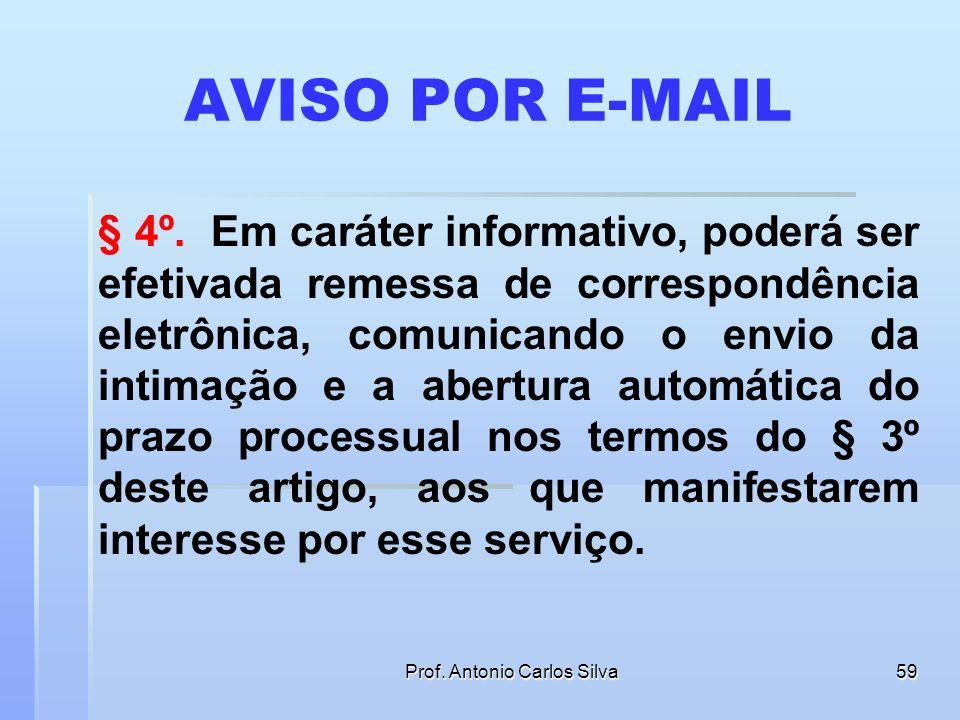 Prof. Antonio Carlos Silva58 PORTAL DE INTIMAÇÕES PRAZO PARA A CONSULTA § 3º A consulta referida nos §§ 1º e 2º deste artigo deverá ser feita em até 1