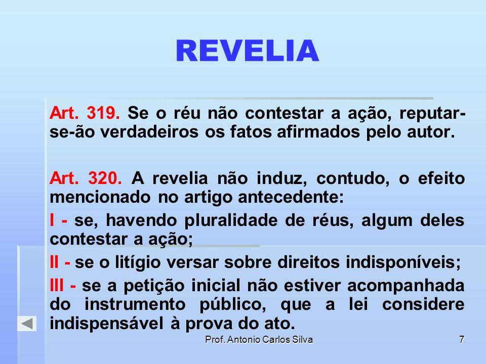 Prof. Antonio Carlos Silva6 A CITAÇÃO E A GARANTIA DO CONTRADITÓRIO CITAÇÃO PELO CORREIO CITAÇÃO POR OF. DE JUSTIÇA RÉU CONTESTA RÉU NÃO CONTESTA CONT