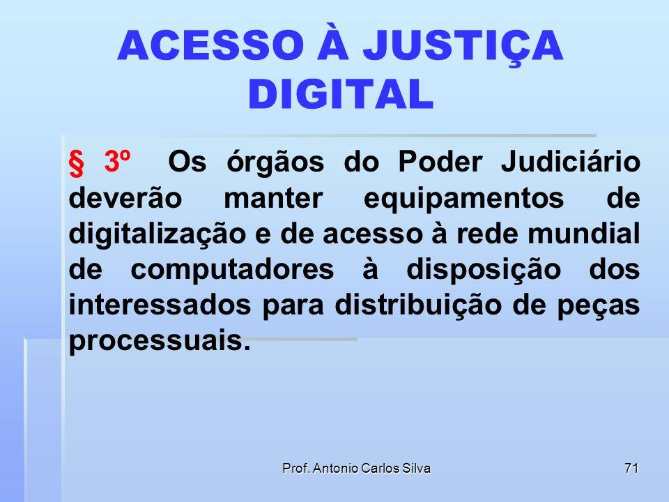 Prof. Antonio Carlos Silva70 PRORROGAÇÃO DO PRAZO § 2º No caso do § 1º deste artigo, se o Sistema do Poder Judiciário se tornar indisponível por motiv