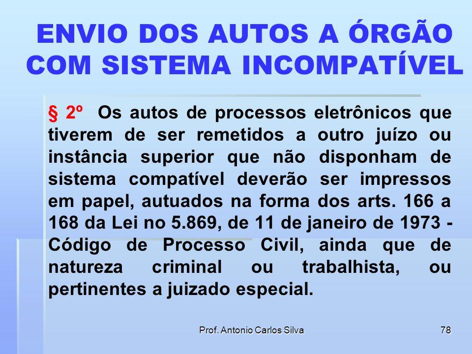 Prof. Antonio Carlos Silva77 CONSERVAÇÃO DOS AUTOS Art. 12. A conservação dos autos do processo poderá ser efetuada total ou parcialmente por meio ele