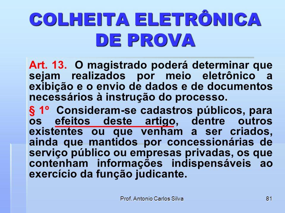 Prof. Antonio Carlos Silva80 DIGITALIZAÇÃO E RESTITUIÇÃO DOS DOCUMENTOS ORIGINAIS § 4º Feita a autuação na forma estabelecida no § 2o deste artigo, o