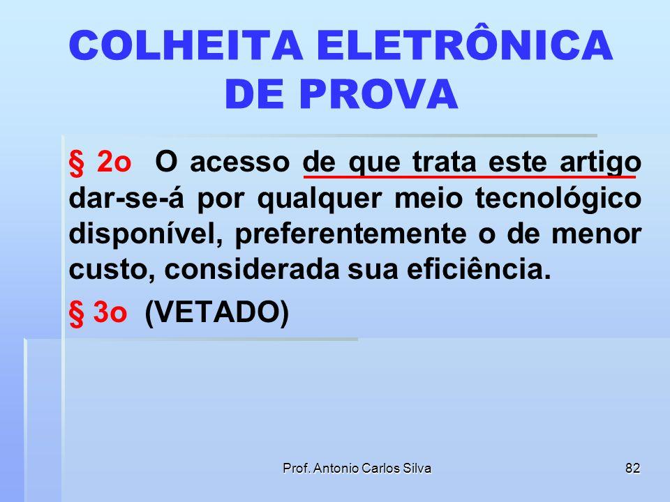 Prof. Antonio Carlos Silva81 COLHEITA ELETRÔNICA DE PROVA Art. 13. O magistrado poderá determinar que sejam realizados por meio eletrônico a exibição