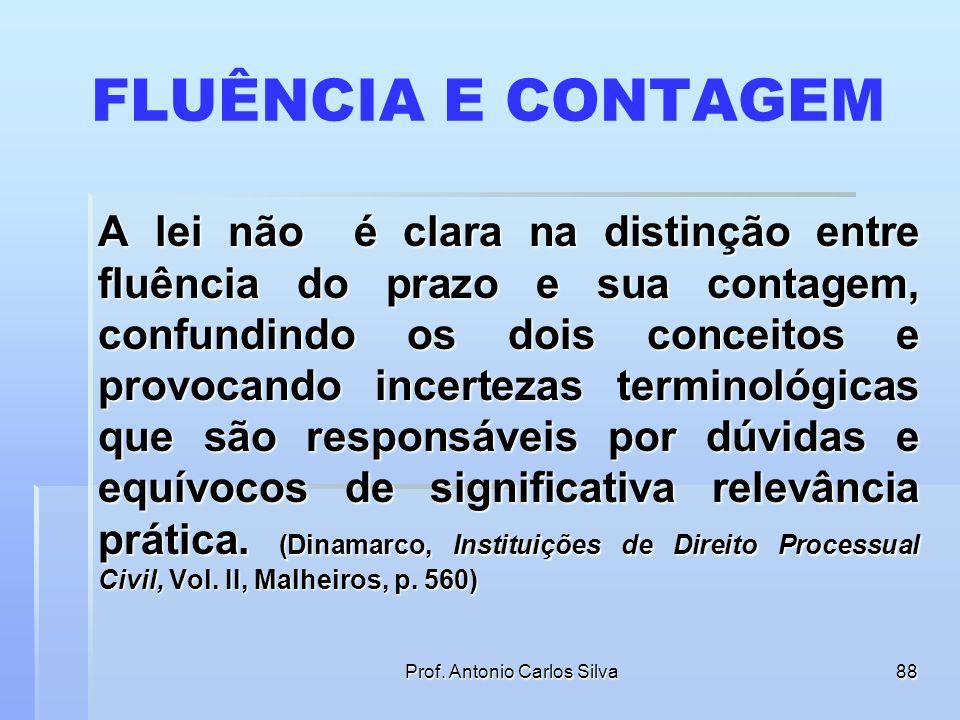 Prof. Antonio Carlos Silva87 ASPECTOS PRÁTICOS SOBRE OS PRAZOS Fluência e contagem dos prazos são sinônimos ou conceitos diversos?
