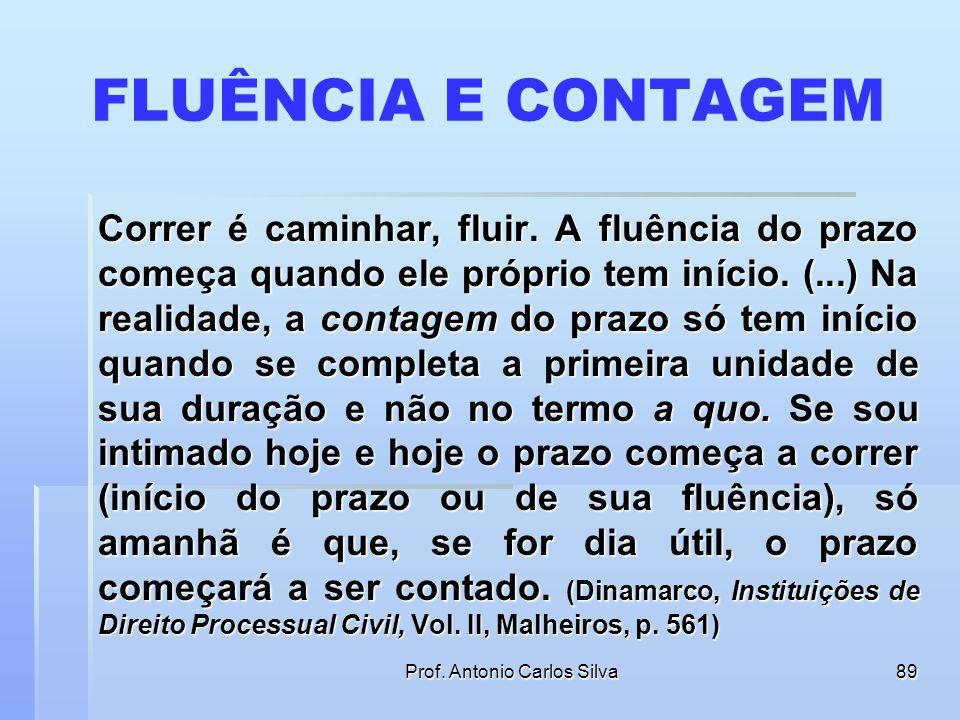 Prof. Antonio Carlos Silva88 FLUÊNCIA E CONTAGEM A lei não é clara na distinção entre fluência do prazo e sua contagem, confundindo os dois conceitos