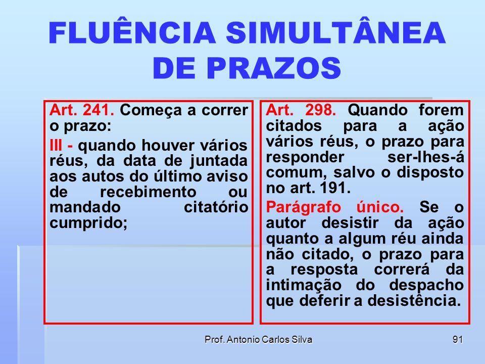 Prof. Antonio Carlos Silva90 FLUÊNCIA SIMULTÂNEA DE PRAZOS Art. 241. Começa a correr o prazo: I - quando a citação ou intimação for pelo correio, da d