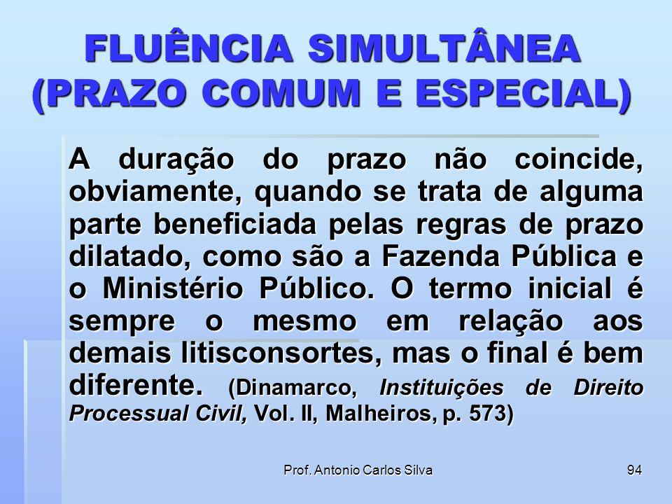Prof. Antonio Carlos Silva93 FLUÊNCIA SIMULTÂNEA (PRAZO COMUM E ESPECIAL) Art. 298. Quando forem citados para a ação vários réus, o prazo para respond