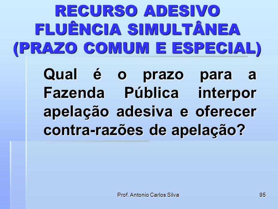 Prof. Antonio Carlos Silva94 FLUÊNCIA SIMULTÂNEA (PRAZO COMUM E ESPECIAL) A duração do prazo não coincide, obviamente, quando se trata de alguma parte