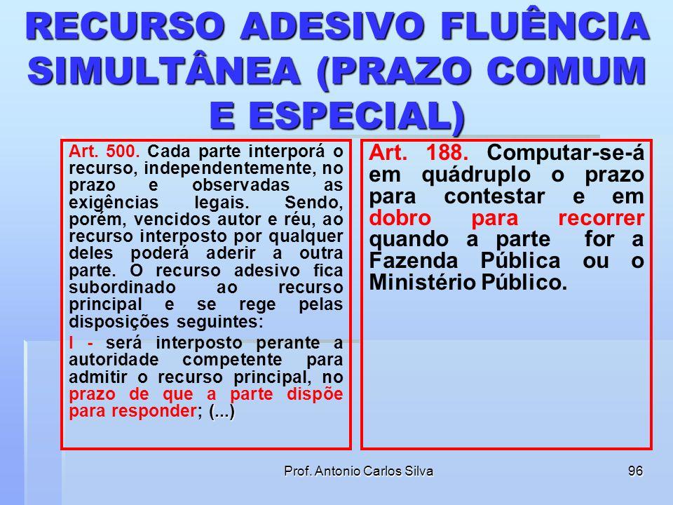 Prof. Antonio Carlos Silva95 RECURSO ADESIVO FLUÊNCIA SIMULTÂNEA (PRAZO COMUM E ESPECIAL) Qual é o prazo para a Fazenda Pública interpor apelação ades