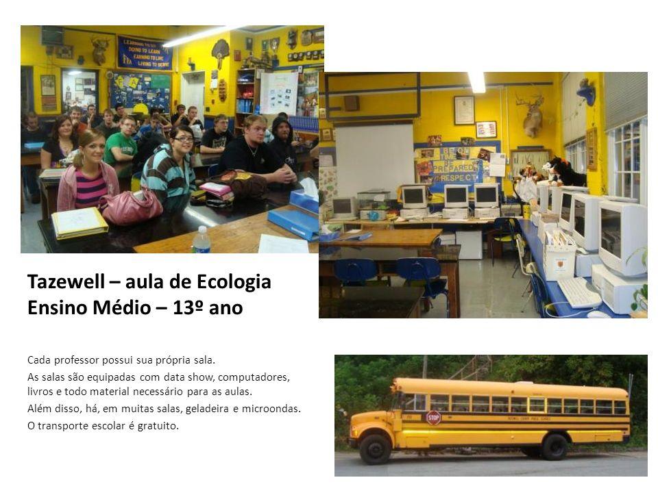 Tazewell – aula de Ecologia Ensino Médio – 13º ano Cada professor possui sua própria sala. As salas são equipadas com data show, computadores, livros