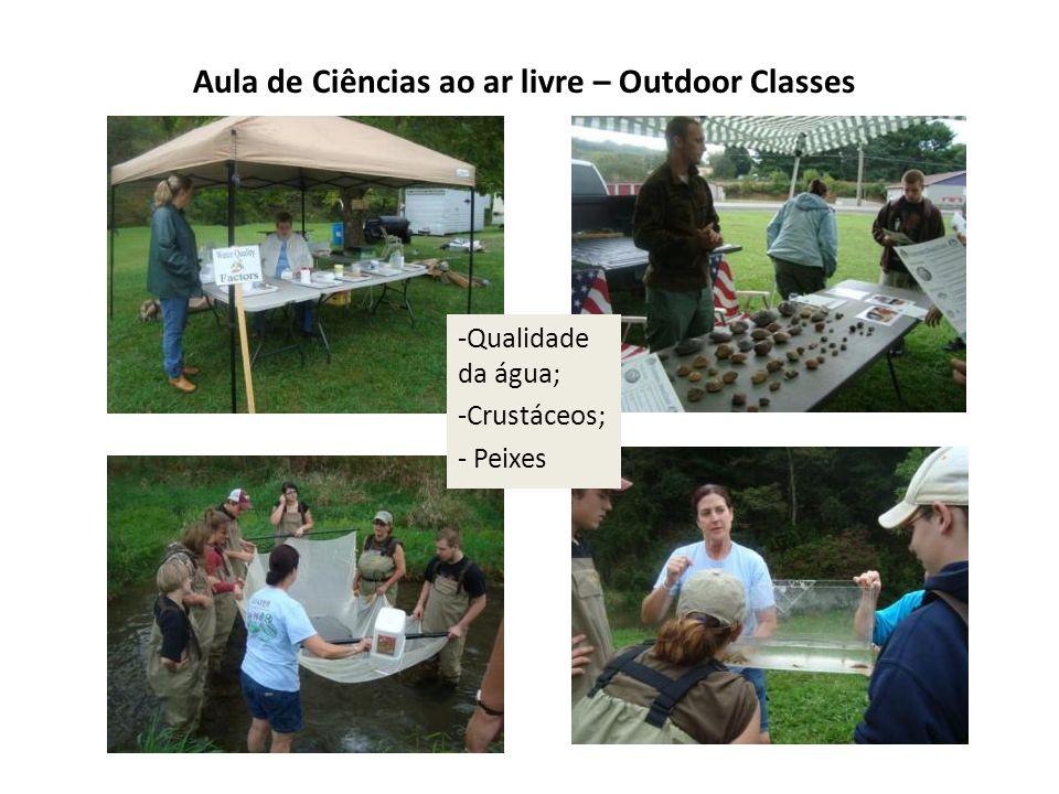 Aula de Ciências ao ar livre – Outdoor Classes -Qualidade da água; -Crustáceos; - Peixes