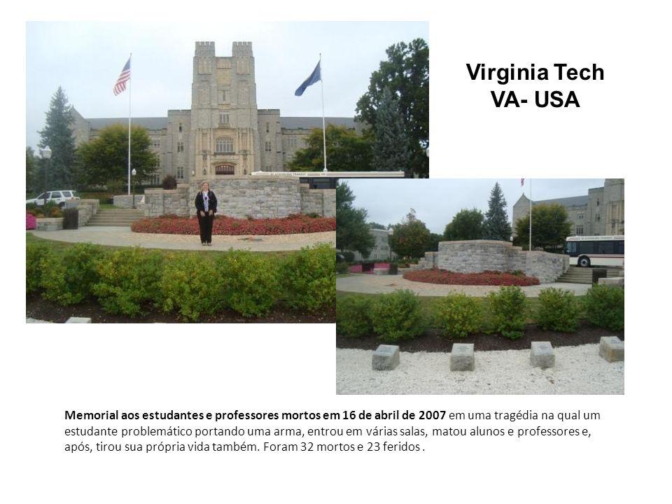 Virginia Tech VA- USA Memorial aos estudantes e professores mortos em 16 de abril de 2007 em uma tragédia na qual um estudante problemático portando u
