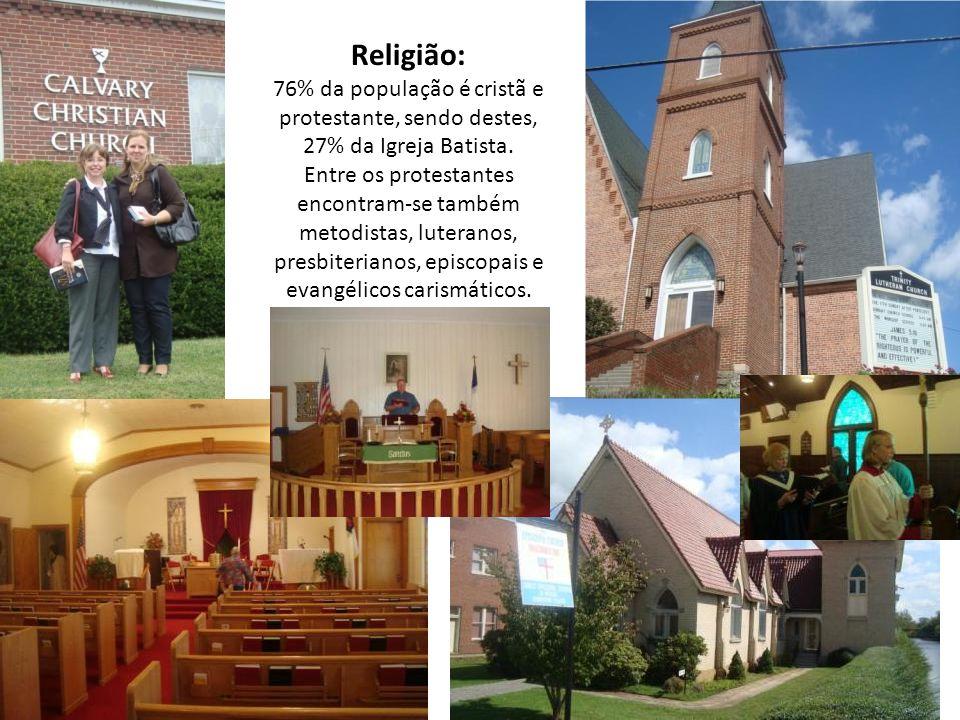 Religião: 76% da população é cristã e protestante, sendo destes, 27% da Igreja Batista. Entre os protestantes encontram-se também metodistas, luterano