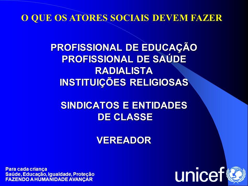 Para cada criança Saúde, Educação, Igualdade, Proteção FAZENDO A HUMANIDADE AVANÇAR PROFISSIONAL DE EDUCAÇÃO PROFISSIONAL DE SAÚDE RADIALISTA INSTITUI
