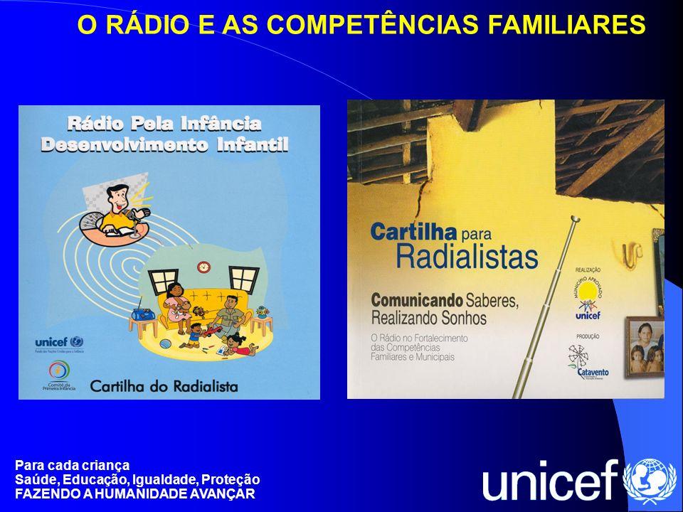 Para cada criança Saúde, Educação, Igualdade, Proteção FAZENDO A HUMANIDADE AVANÇAR O RÁDIO E AS COMPETÊNCIAS FAMILIARES