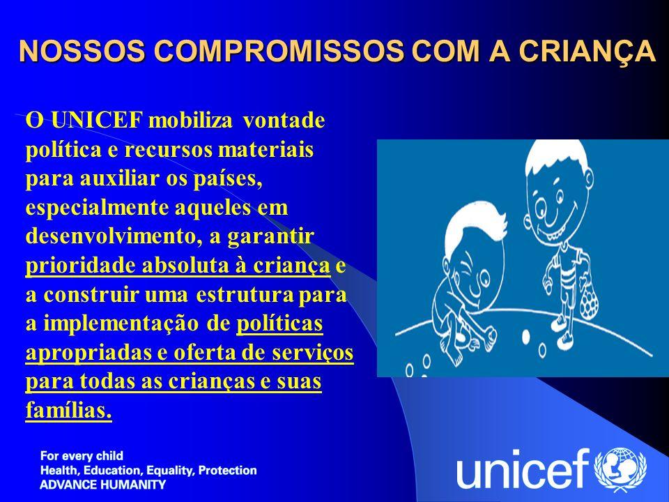 NOSSOS COMPROMISSOS COM A CRIANÇA O UNICEF mobiliza vontade política e recursos materiais para auxiliar os países, especialmente aqueles em desenvolvi