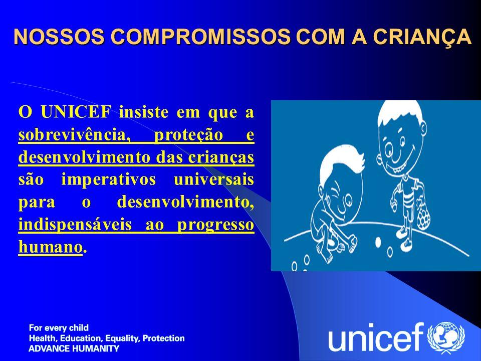 NOSSOS COMPROMISSOS COM A CRIANÇA O UNICEF insiste em que a sobrevivência, proteção e desenvolvimento das crianças são imperativos universais para o d