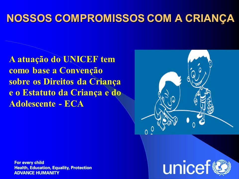 NOSSOS COMPROMISSOS COM A CRIANÇA A atuação do UNICEF tem como base a Convenção sobre os Direitos da Criança e o Estatuto da Criança e do Adolescente