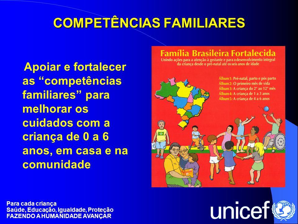 Para cada criança Saúde, Educação, Igualdade, Proteção FAZENDO A HUMANIDADE AVANÇAR COMPETÊNCIAS FAMILIARES Apoiar e fortalecer as competências famili