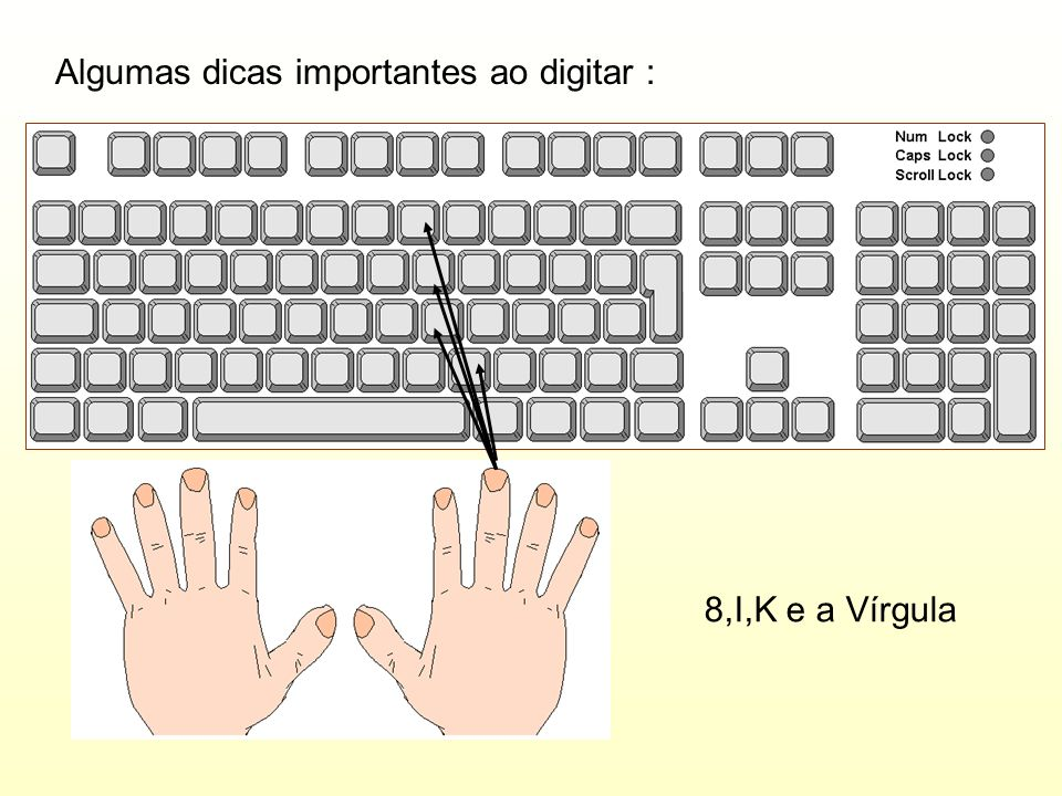 Algumas dicas importantes ao digitar : 8,I,K e a Vírgula