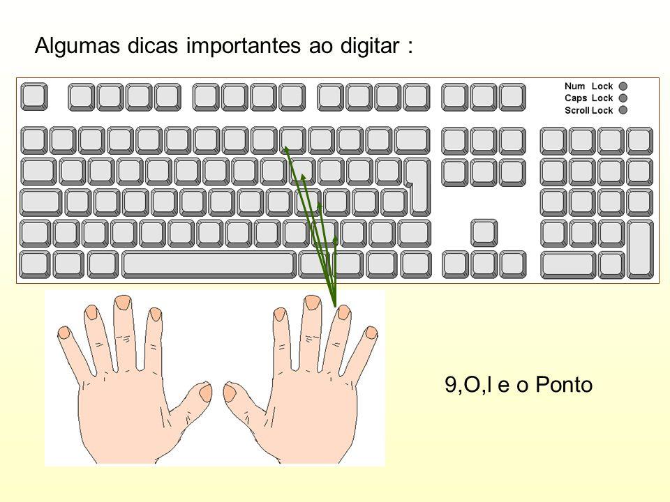 Algumas dicas importantes ao digitar : 9,O,l e o Ponto