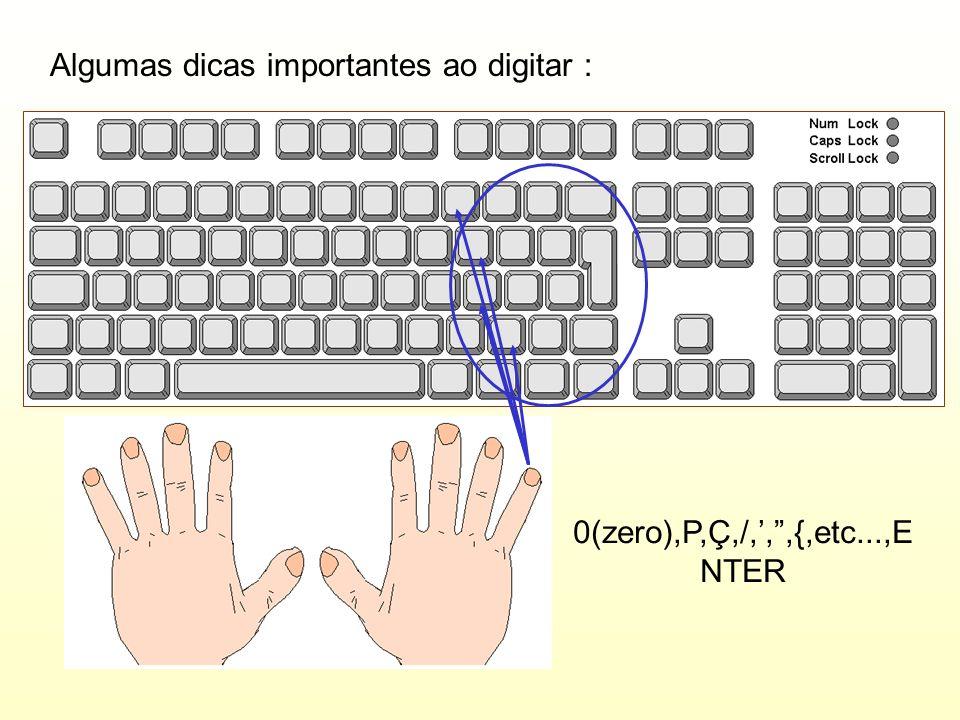 Algumas dicas importantes ao digitar : 0(zero),P,Ç,/,,,{,etc...,E NTER