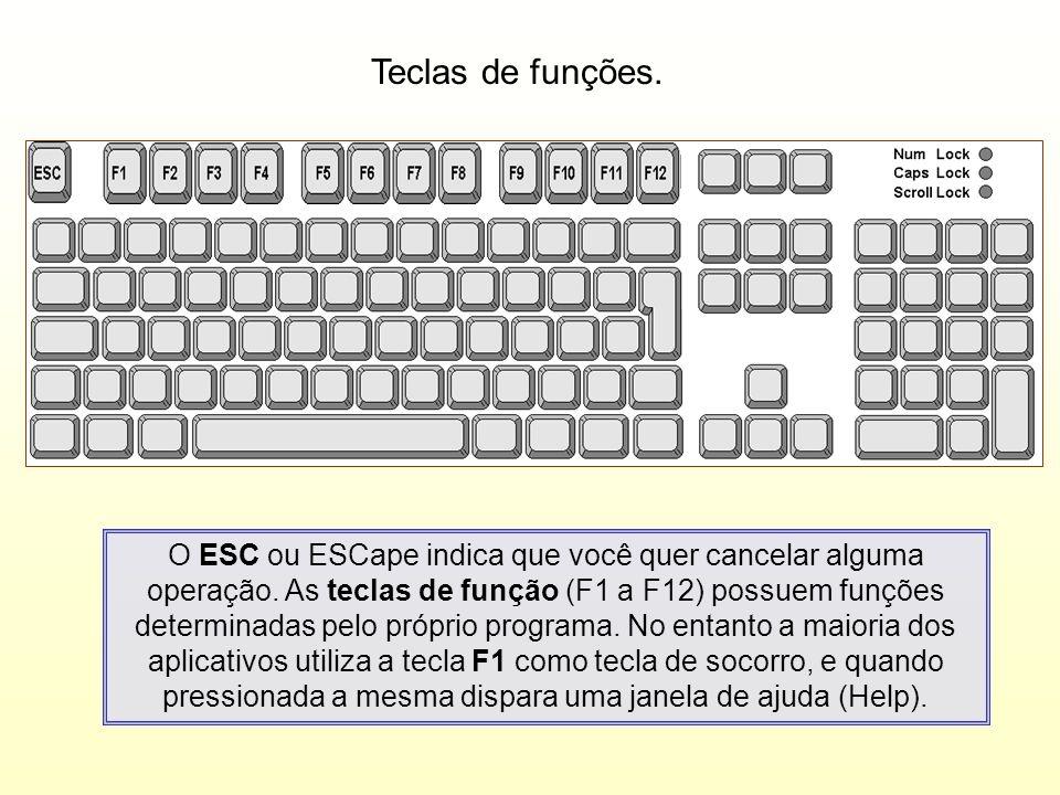 Teclas de funções. O ESC ou ESCape indica que você quer cancelar alguma operação. As teclas de função (F1 a F12) possuem funções determinadas pelo pró