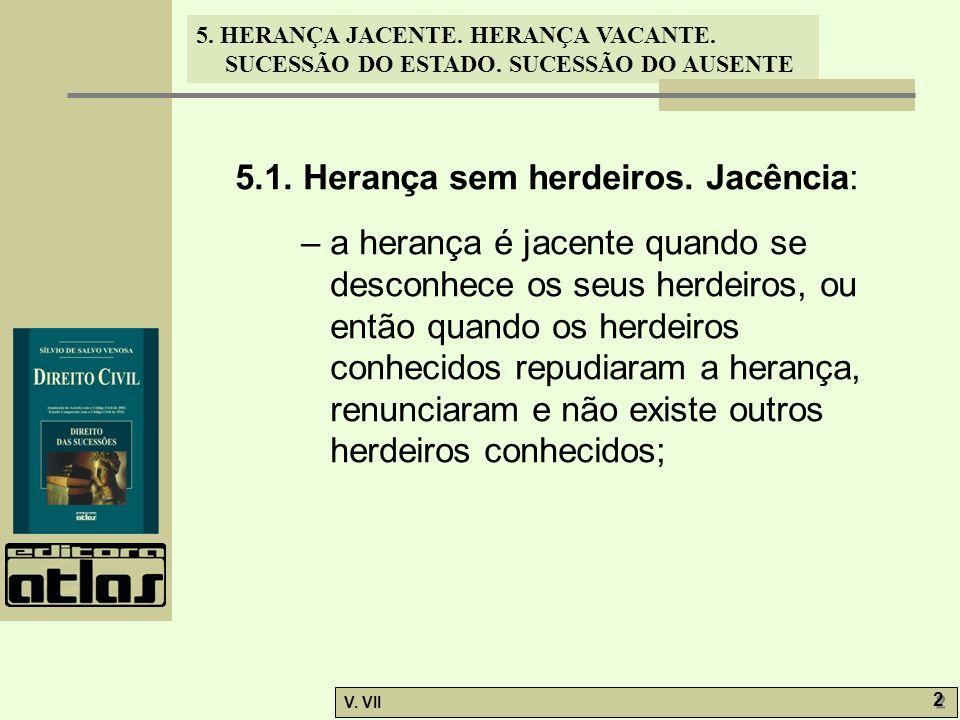5. HERANÇA JACENTE. HERANÇA VACANTE. SUCESSÃO DO ESTADO. SUCESSÃO DO AUSENTE V. VII 2 2 5.1. Herança sem herdeiros. Jacência: – a herança é jacente qu