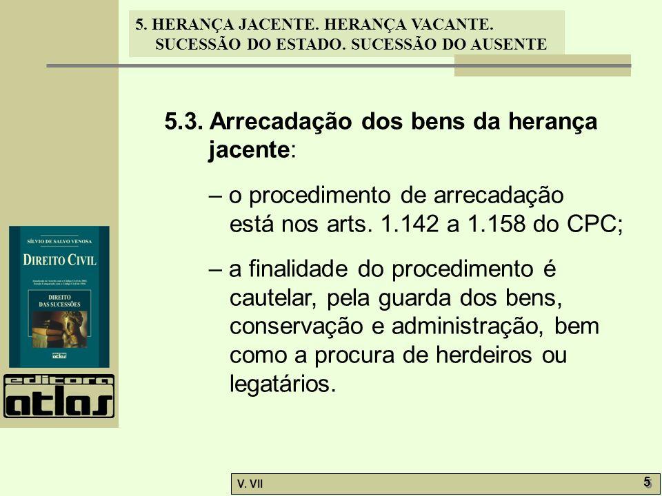 5. HERANÇA JACENTE. HERANÇA VACANTE. SUCESSÃO DO ESTADO. SUCESSÃO DO AUSENTE V. VII 5 5 5.3. Arrecadação dos bens da herança jacente: – o procedimento
