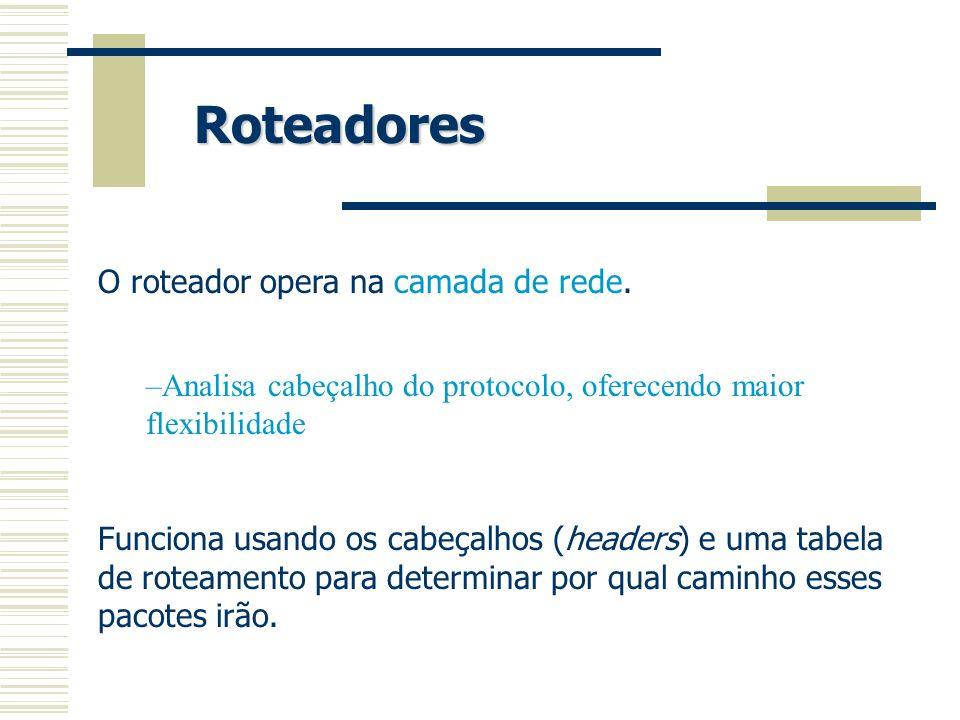 Roteadores O roteador opera na camada de rede. –Analisa cabeçalho do protocolo, oferecendo maior flexibilidade Funciona usando os cabeçalhos (headers)