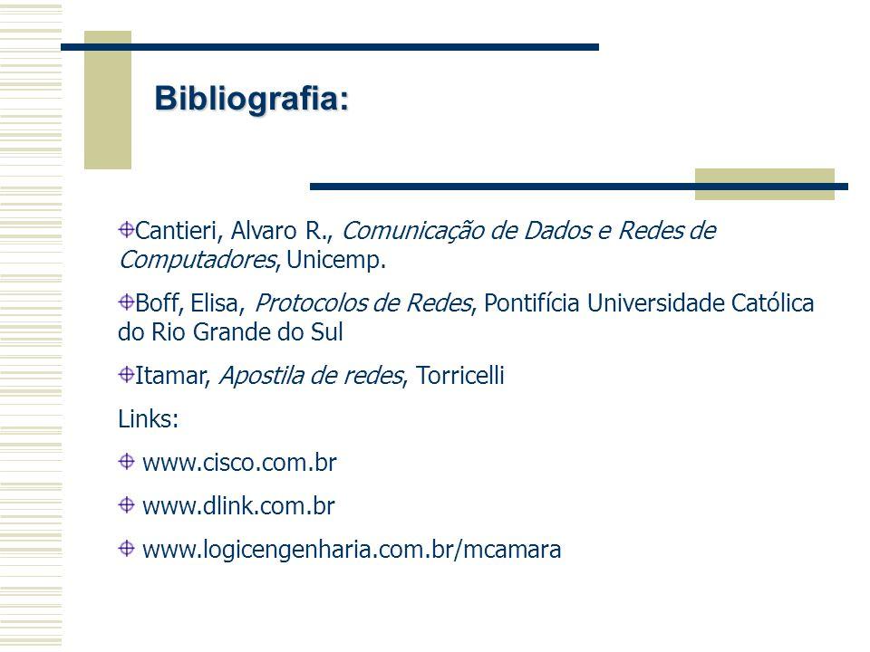 Bibliografia: Cantieri, Alvaro R., Comunicação de Dados e Redes de Computadores, Unicemp. Boff, Elisa, Protocolos de Redes, Pontifícia Universidade Ca