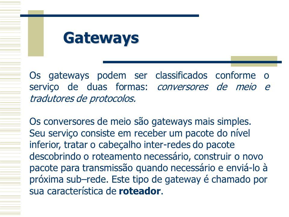 Os gateways podem ser classificados conforme o serviço de duas formas: conversores de meio e tradutores de protocolos. Os conversores de meio são gate