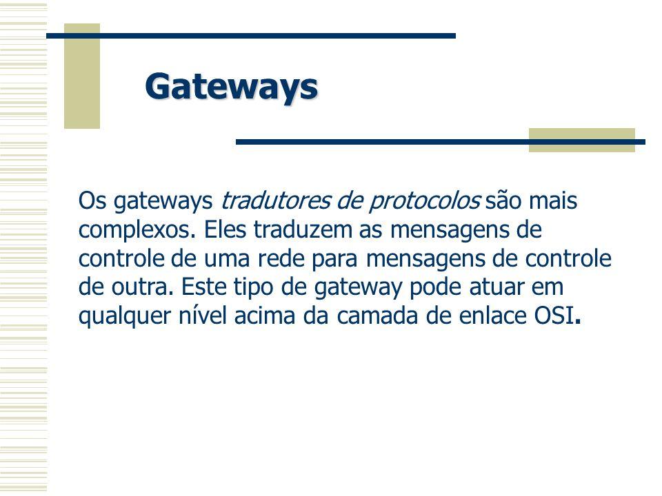 Os gateways tradutores de protocolos são mais complexos. Eles traduzem as mensagens de controle de uma rede para mensagens de controle de outra. Este