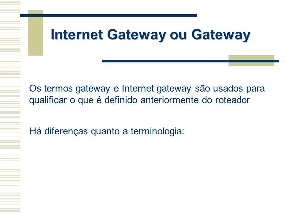 Os termos gateway e Internet gateway são usados para qualificar o que é definido anteriormente do roteador Há diferenças quanto a terminologia: Intern