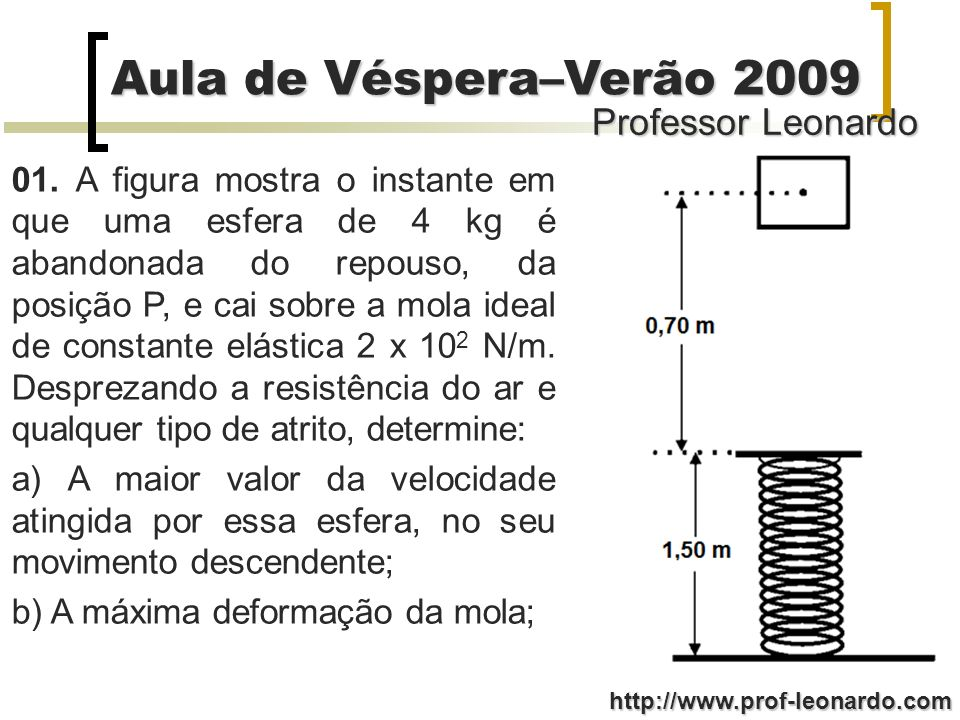 Professor Leonardo Aula de Véspera–Verão 2009 http://www.prof-leonardo.com 01. A figura mostra o instante em que uma esfera de 4 kg é abandonada do re