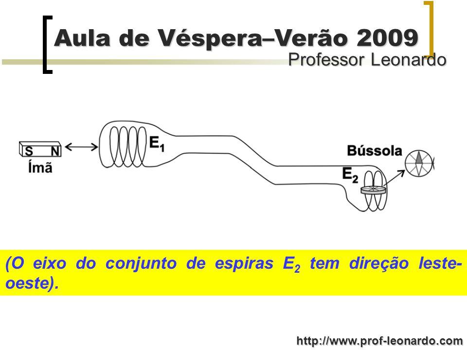 Professor Leonardo Aula de Véspera–Verão 2009 http://www.prof-leonardo.com (O eixo do conjunto de espiras E 2 tem direção leste- oeste).