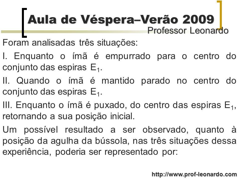 Professor Leonardo Aula de Véspera–Verão 2009 http://www.prof-leonardo.com Foram analisadas três situações: I. Enquanto o ímã é empurrado para o centr