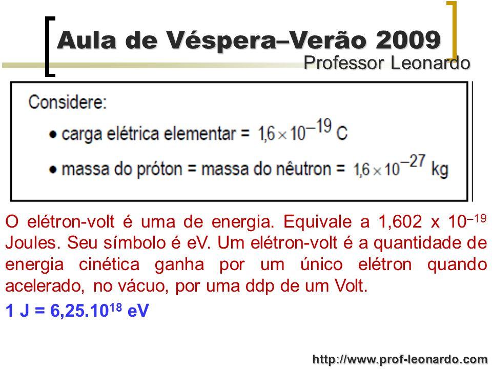 Professor Leonardo Aula de Véspera–Verão 2009 http://www.prof-leonardo.com O elétron-volt é uma de energia. Equivale a 1,602 x 10 –19 Joules. Seu símb
