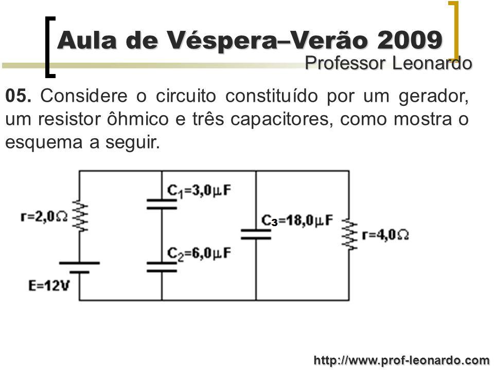 Professor Leonardo Aula de Véspera–Verão 2009 http://www.prof-leonardo.com 05. Considere o circuito constituído por um gerador, um resistor ôhmico e t