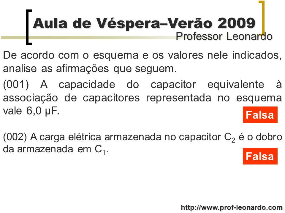 Professor Leonardo Aula de Véspera–Verão 2009 http://www.prof-leonardo.com De acordo com o esquema e os valores nele indicados, analise as afirmações