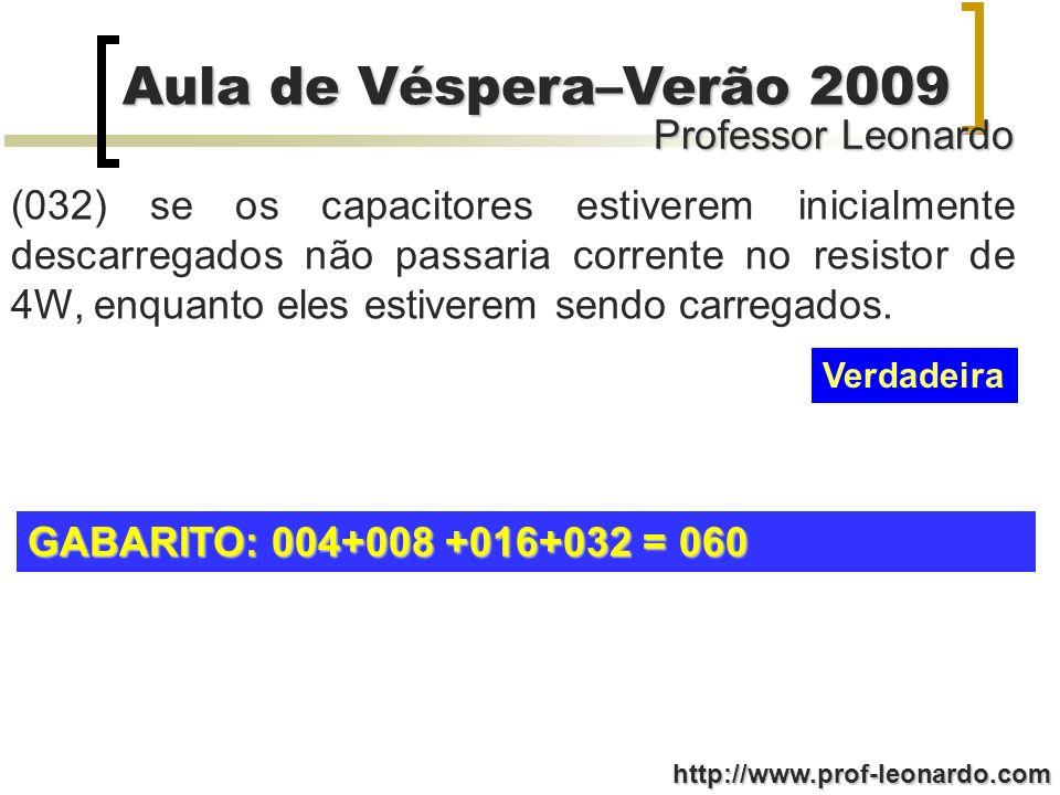 Professor Leonardo Aula de Véspera–Verão 2009 http://www.prof-leonardo.com (032) se os capacitores estiverem inicialmente descarregados não passaria c