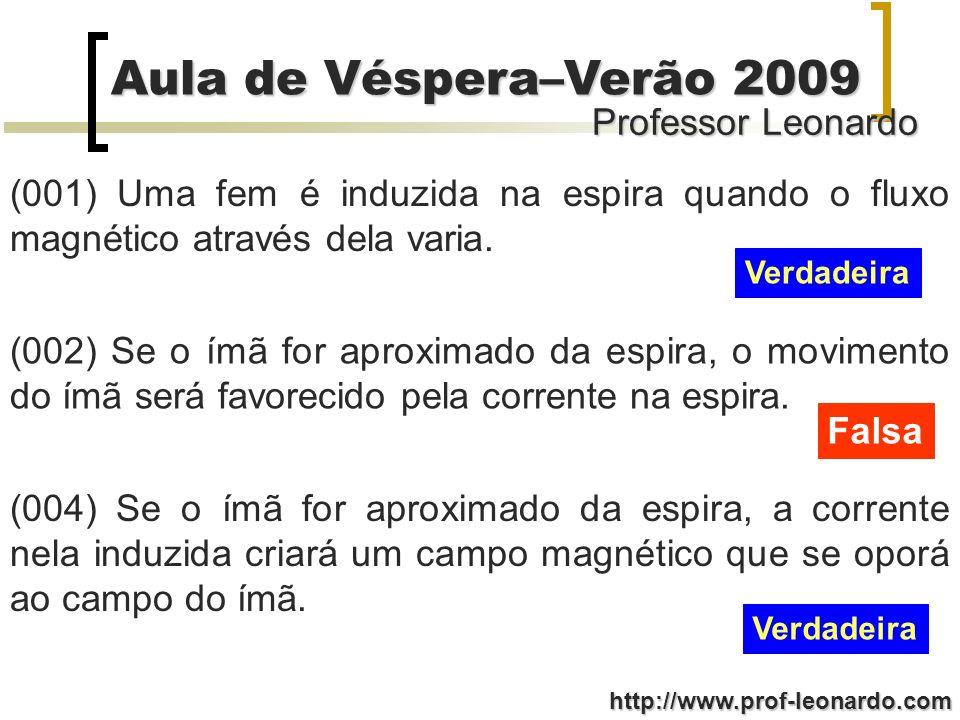 Professor Leonardo Aula de Véspera–Verão 2009 http://www.prof-leonardo.com (001) Uma fem é induzida na espira quando o fluxo magnético através dela va