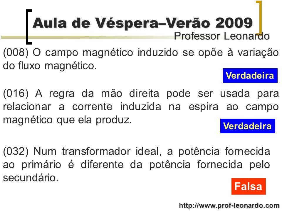 Professor Leonardo Aula de Véspera–Verão 2009 http://www.prof-leonardo.com (008) O campo magnético induzido se opõe à variação do fluxo magnético. Ver