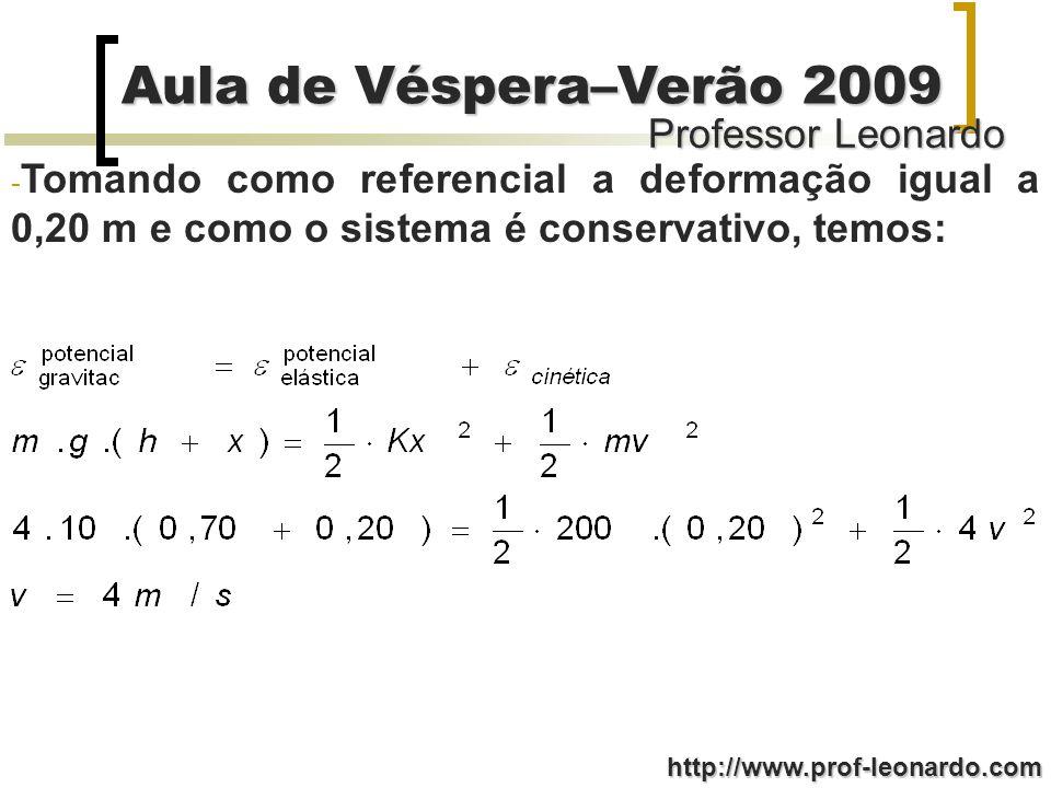 Professor Leonardo Aula de Véspera–Verão 2009 http://www.prof-leonardo.com - Tomando como referencial a deformação igual a 0,20 m e como o sistema é c