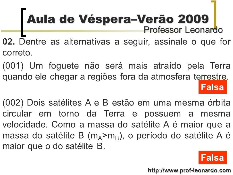 Professor Leonardo Aula de Véspera–Verão 2009 http://www.prof-leonardo.com 02. Dentre as alternativas a seguir, assinale o que for correto. (001) Um f
